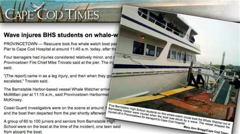 Cape Cod Boating Accident by Students Injured In Whale Watch Accident New England