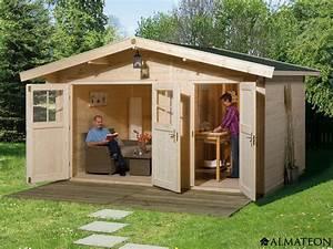 Gartenhaus Mit Glasfront : abri en bois brut 2 pi ces 11 8 m2 hinterzarten 2 paisseur 28 mm almateon ~ Markanthonyermac.com Haus und Dekorationen