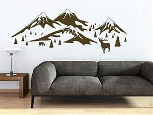 Schöne Bilder Für Die Wand : sch ne alpen deko mit wandtattoos hirsche berge und tannen wohntrend ~ Markanthonyermac.com Haus und Dekorationen
