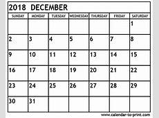December 2018 Printable Calendar invoice Pinterest