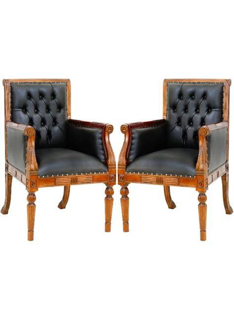 2 fauteuils visiteur de bureau style anglais meuble de style