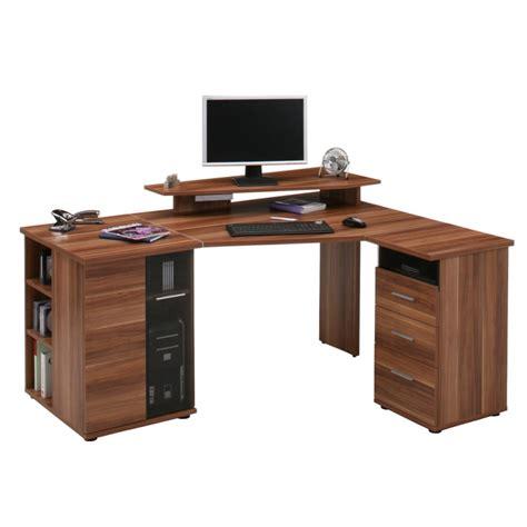bureau d angle pour ordinateur g 228 vle imitation noyer montage variable grand espace de