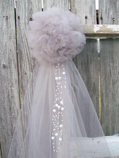 silver pew bow grey wedding decor silver tulle church aisle
