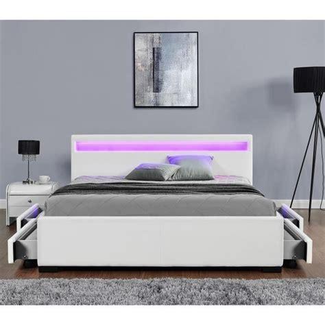 lit enfield blanc led et rangement tiroirs 160x200 cm achat vente lit pas cher couleur