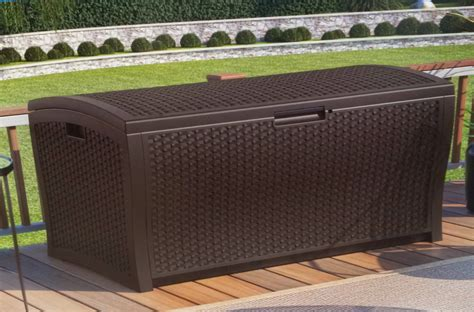 suncast resin wicker deck box 73 gallon home design ideas
