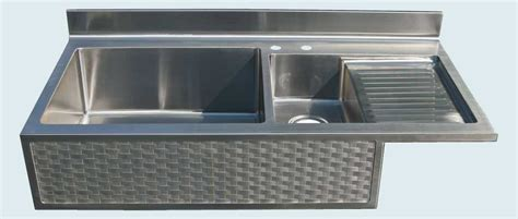 made stainless sink with drainboard woven apron by