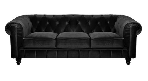 deco in canape 3 places velours noir chesterfield can chester 3p velours noir