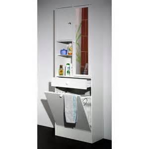 armoire salle de bain avec panier a linge