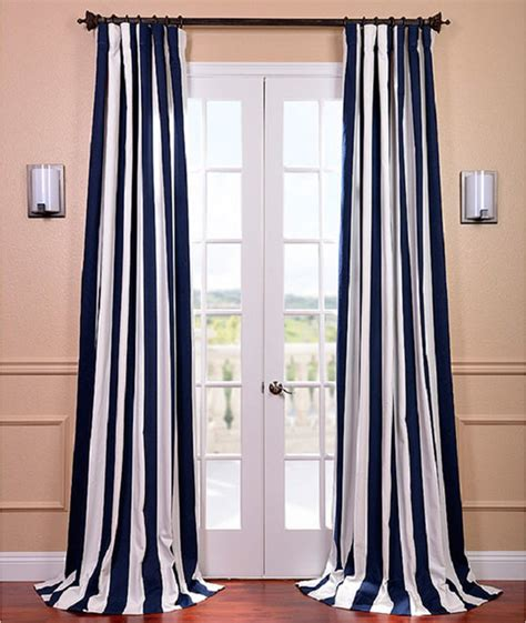 Navy Striped Curtain Panels by Cabana Navy Stripe Cotton Curtain Panel Contemporary