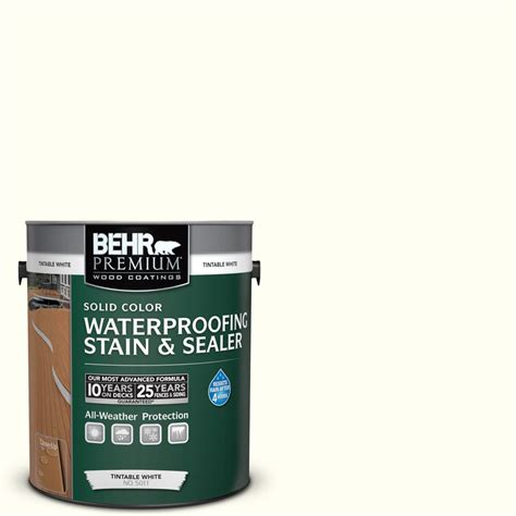 behr premium 1 gal sc 337 pinto white solid color waterproofing stain and sealer 501101 the