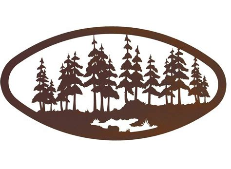 22 quot oval large pine forest metal wall nature wall decor