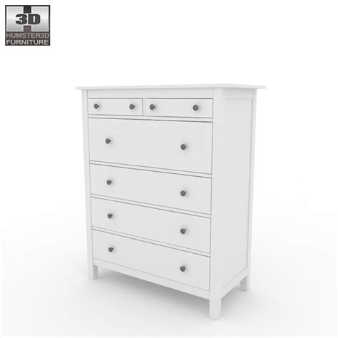 hemnes 6 drawer dresser white ikea hemnes chest of 6 drawers 3d model humster3d