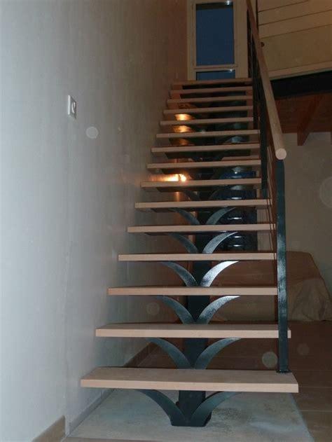 escalier droit marches bois limon central m 233 tal pose 224 saumur angers nantes