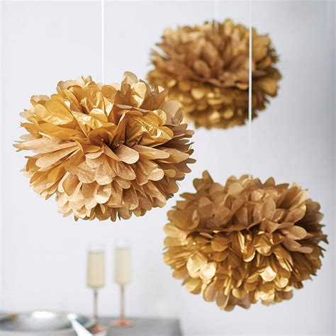 metallic hanging pom pom decoration by pearl and earl notonthehighstreet