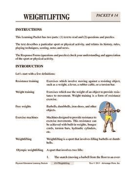 Weightlifting Worksheets For Kids Who Sit Out Pe