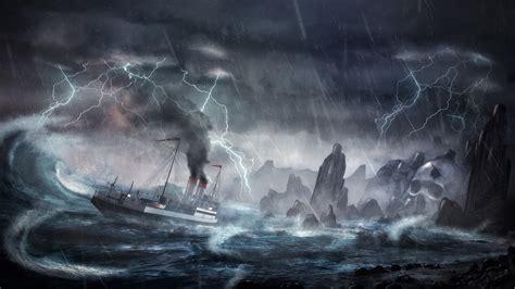 Dibujo Barco En Tormenta by Fondos De Pantalla Barco Mar Lluvia Pintura Rayo Nube De