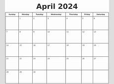 April 2024 Print A Calendar