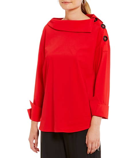 Fold Over Boat Neck Dress by Ic Collection Boat Neck Fold Over Collar Top Dillards