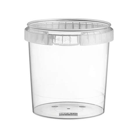 pot plastique pp 1180 ml transparent rond avec couvercle