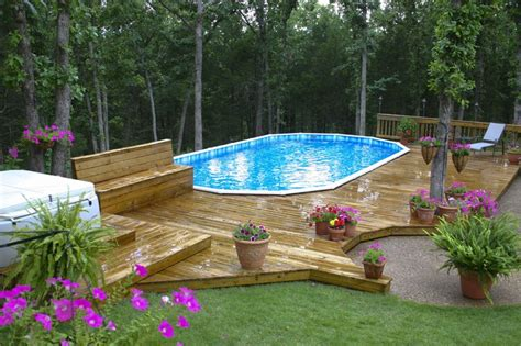 pool backyard designs awesome wooden style deck portable pool landscape backyard