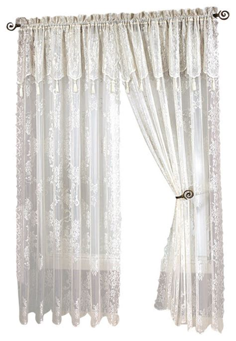lace curtain panel with attached valance with tassels traditional curtains by brown