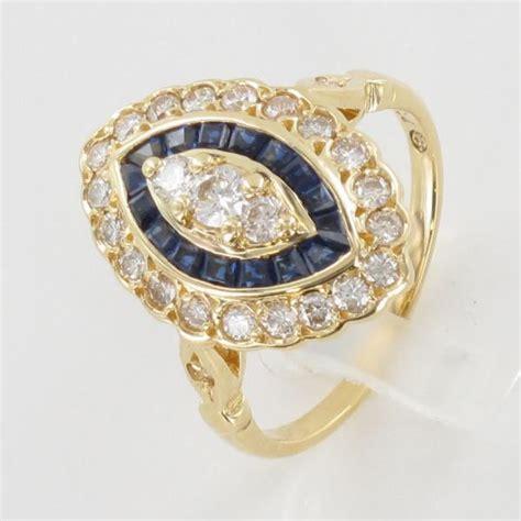 bague marquise or jaune saphir calibr 233 diamant