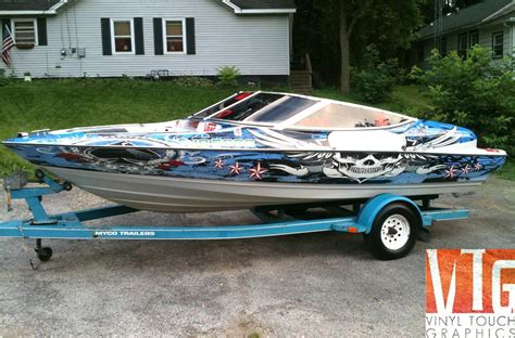 Red Boat Vinyl Wrap by Cool Custom Printed Boat Wrap From Vinyl Touch Graphics