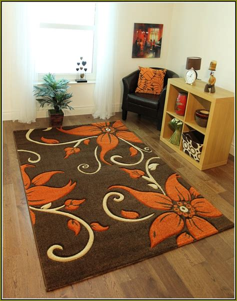 floral brown area rug with orange flowers brown area rugs orange