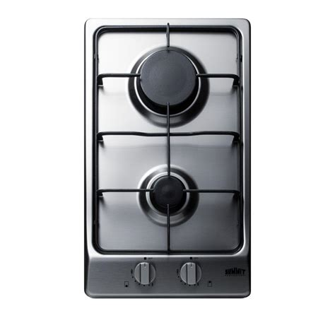 2 burner gas cooktop summit appliance 12 in gas cooktop in stainless steel