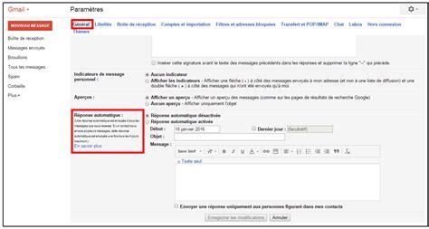 cr 233 er un message automatique en cas d absence avec gmail je me forme au num 233 rique