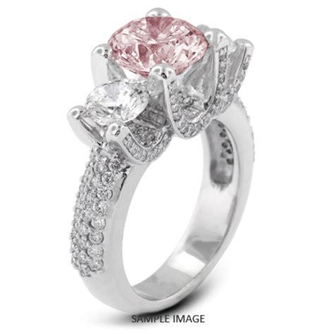 Platinum Threestone Engagement Rings With 136 Total