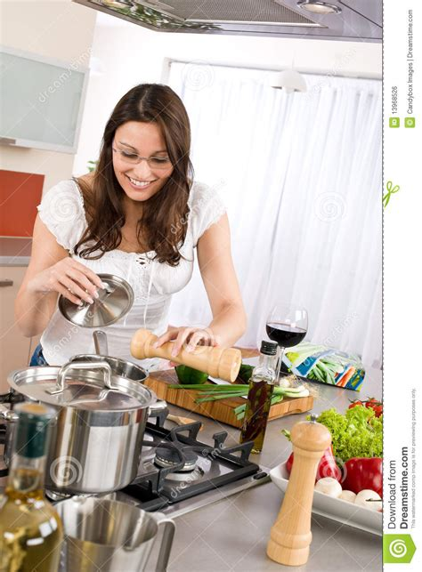 Cooking  Happy Woman Cook In Modern Kitchen Stock Photo