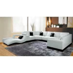 canap 233 panoramique cuir blanc avec m 233 ridienne achat vente canape panoramique pas cher