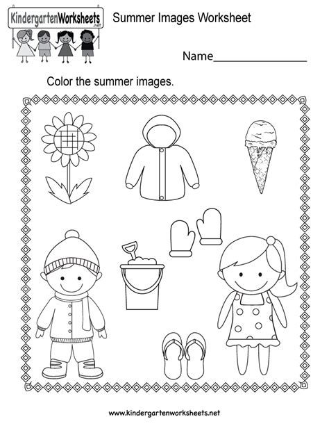 Summer Images Worksheet  Free Kindergarten Seasonal Worksheet For Kids