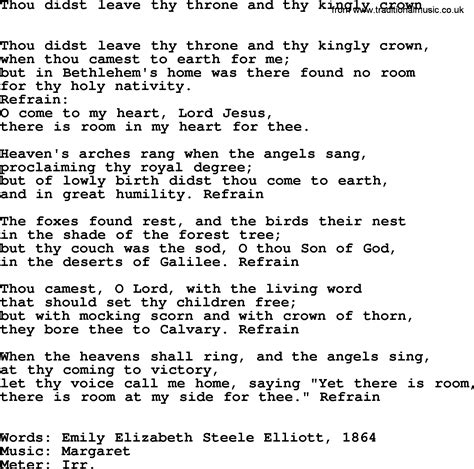 hymns ancient and modern song thou didst leave thy throne and thy kingly crown lyrics midi
