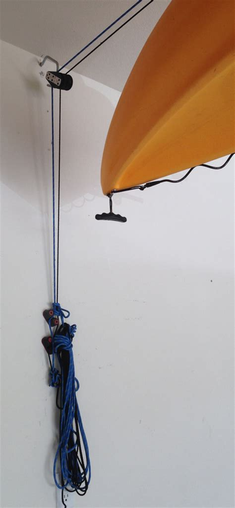 hobie forums view topic hoist pulley system for 100 lb kayak in low garage ceiling