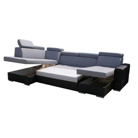 canap 233 d angle en u convertible softy avec coffre de rangement et lit gris et noir moderne
