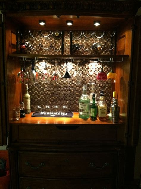 converted my armoire into a mini bar i this