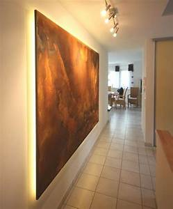 Maler Ideen Wohnzimmer : wohnideen wandgestaltung maler der kundenwunsch ein wandpaneel in rostdesign mit indirekter ~ Markanthonyermac.com Haus und Dekorationen