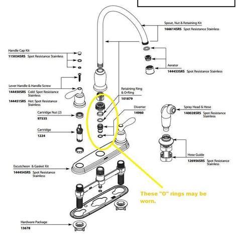 delta kitchen faucet schematic delta faucet parts