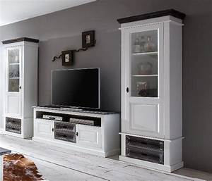 Shabby Chic Möbel Weiß : wohnwand cabana chic lowboard und 2 vitrinen ~ Markanthonyermac.com Haus und Dekorationen