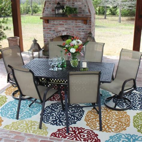 bay 6 person sling patio dining set with cast