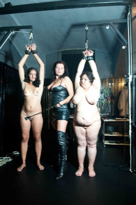 Old Mistress In Leather And Her Suspended Fat Slaves Enjoy ...