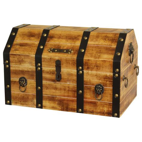 Large Wooden Pirate Trunk with Lion Rings Storage Treasure Chest Decorative New   eBay