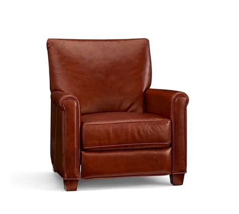irving leather recliner pottery barn