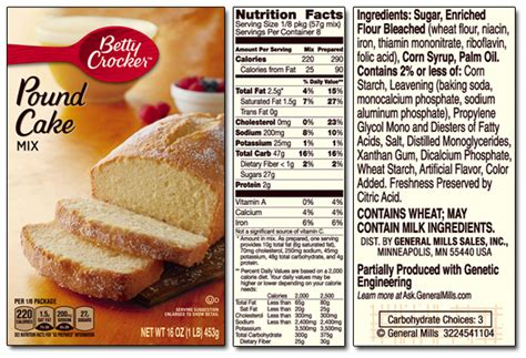 cake mix ingredients betty crocker product list