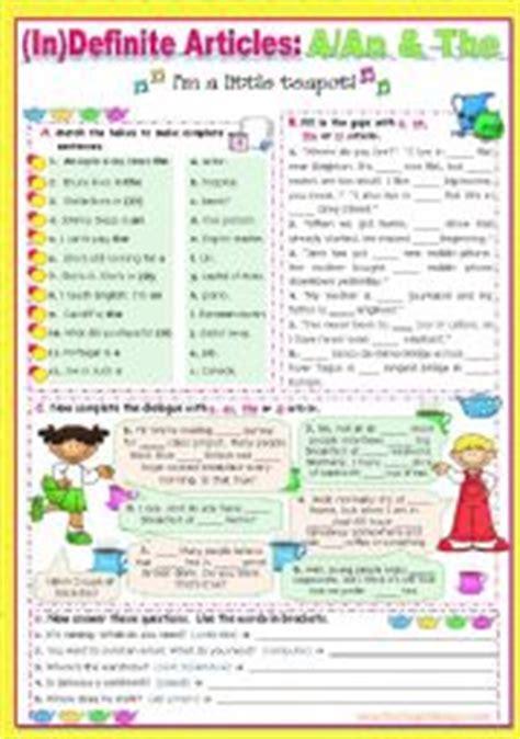 English Worksheet Definite & Indefinite Articles Aan, The Or Zero Article?  There Is There