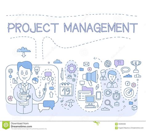 doodle style concept of project management modern line illustration for web banners