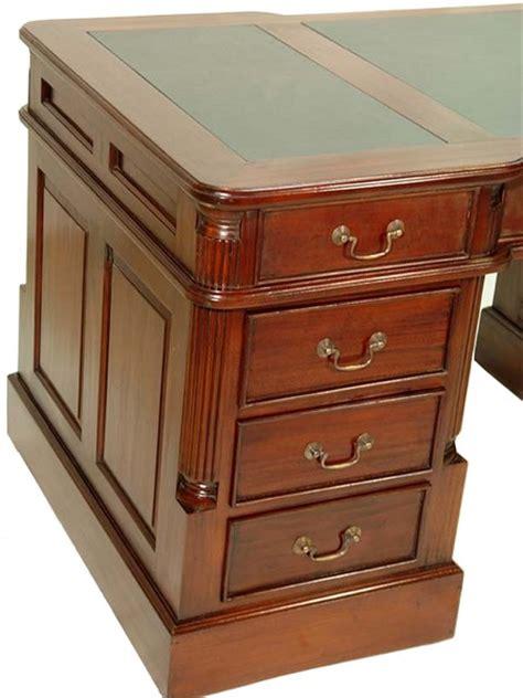 bureau anglais acajou plateau vert oxford meuble de style