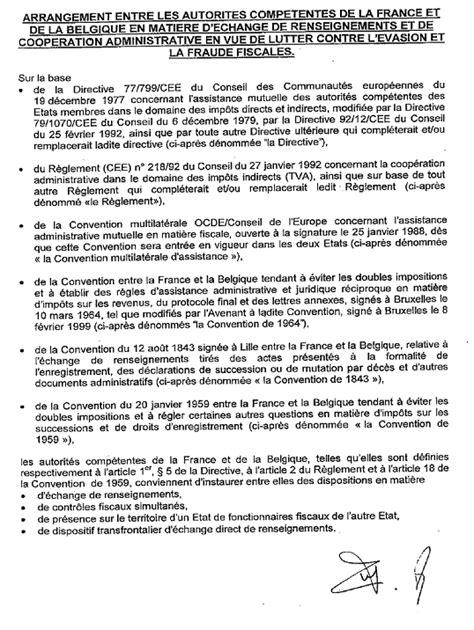 annexe int arrangement entre les autorit 233 s comp 233 tentes de la et de la belgique en